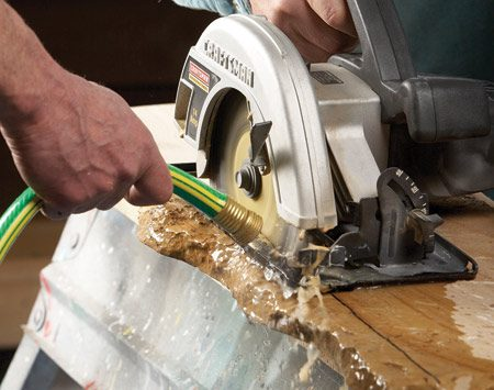 <b>Use diamond blades </b><br/><p>Forget  about those throwaway abrasive masonry blades. Diamond   blades  have dropped in price in recent years ($25), and they&rsquo;re the key   for  this task. Find a volunteer to hold a slow-running garden hose right   at  the cut while you saw your way through. That&rsquo;ll keep the blade cool,   speed  up the cut and eliminate dust. And don&rsquo;t worry. It&rsquo;s safe as long   as you&rsquo;re plugged into a GFCI-protected  outlet. </p>