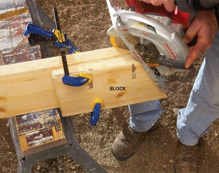 <b>Support saw base with a block as you cut</b><br/><p>Next,  clamp or screw a block even with the end of the   board  to support the saw base while you cut. The blade probably   won&rsquo;t  complete the cut, but it&rsquo;s easy to finish it with a handsaw   or  reciprocating saw. This trick works for compound cuts as well.   Cut  the angle first with the saw at 90 degrees, and then use the   off-cut to support the saw while you  cut. </p>