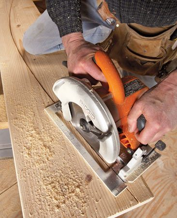 <b>Use a circ saw for gradual curves</b><br/><p>A  circular saw will do a sterling job for long,   gradual  curves in a fraction of the time a jigsaw will. Plus, you&rsquo;ll   get  a much smoother cut. If you&rsquo;re cutting plywood, set the saw   to  cut just deep enough to cut through the wood. The deeper   the  blade, the harder it&rsquo;ll be to make the cut because it&rsquo;ll get   bound  in the kerf. If you&rsquo;re cutting thicker material, cut halfway   through  on the first pass and then make a second, deeper final   cut following the original cut. </p>