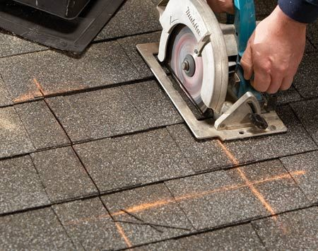 <b>Cuts through shingles and decking</b><br/><p>Sometimes  you need to cut a hole in a roof for roof vents, chimneys,   skylights,  whatever. You don&rsquo;t have to remove shingles   before  you cut. Just stick an old carbide blade in your saw and   plunge-cut right through the shingles  and decking. </p>