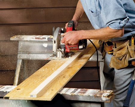 <b>Build a jig</b><br/><p>Cutting  lap siding is   tough  because it&rsquo;s awkward   to  &ldquo;four-wheel&rdquo;   the  saw over the laps.   Next  time you&rsquo;re faced   with  cutting through   siding,  make a plywood   cutting  jig. Screw a 1x3 or 1x4 fence to a 12-in. strip   of  plywood about 6 in. from the edge.   Then rip off the excess plywood. </p>
