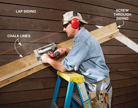 <b>Screw it to the wall</b><br/><p>Snap  guidelines on the siding.   Then  align   and  screw the jig right   to  the siding with the   edge  of the plywood   directly  over the desired   cutting  line, and set the   cutting  depth to cut   just  through the siding,   including  the thickness   of  the jig. The saw&rsquo;s   base  will ride on the flat   surface  and you&rsquo;ll get a   perfect  cut every time.   With  a diamond blade,   this  trick works great for   stucco, too. </p>