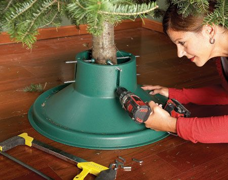 <b>Use a drill instead of your hand</b></br> Tightening tree-stand nuts by hand is tiring and takes forever. Try this, our favorite Christmas tree hint from our archives: Cut off the little L's at the end of the tree stand bolts with a hacksaw. Chuck the ends of the bolts into a variable-speed drill and tighten them into the trunk. Your tree will be secure, and you can get out from underneath the tree and get decorating.