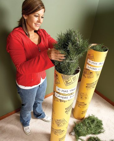 <b>Store artificial tree in concrete form tubes</b></br> <p>Do you like the  convenience of an artificial tree   but dislike storing it  because it takes up so darn   much space? Try this idea.  Use two 8-in.-   diameter concrete form  tubes, wrap each layer of the tree in   twine and store half the  tree layers in one tube and half in   the other. Mark the layer  numbers on each tube and stow   the tubes in your garage rafters. A perfect solution! </p>