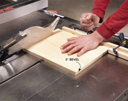 <b>Photo 1: Cut accurate angles</b></br> Use your table saw's miter gauge when you cut all the parts to final length. Screw a 1x2 to your miter gauge so you can clamp on a stop block for identical cuts. Cut parallel 5-degree bevels on the top and bottom of the legs.