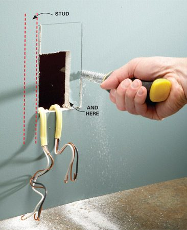 <b>Photo 1: Cut a larger hole</b></br> Align the new box with the stud side of the existing opening and level it. Then trace the larger profile onto the wall. Cut the larger opening with a drywall saw.