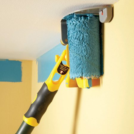 <b>Edge-painting tool in action</b></br> Connect a pole to the ceiling-edging tool and you can paint along the ceiling without even getting on a ladder.