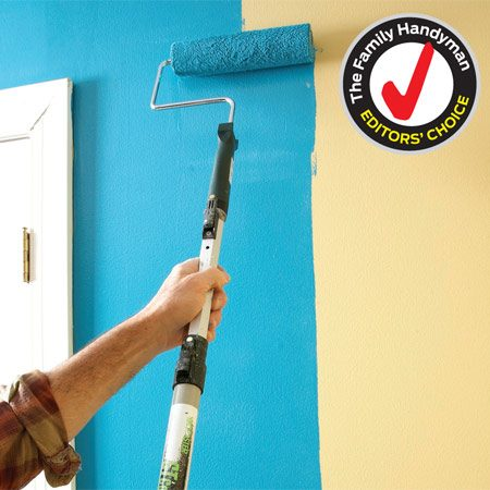 <b>Paint pole in action</b></br> Clip on the roller frame, adjust the length and go. In seconds, you're rolling walls or ceilings with a pole that's the perfect length.