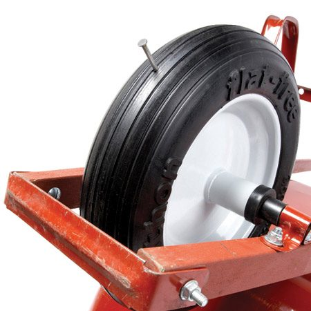 <b>Flat-free tire</b></br> Flat-free tires are filled with foam so that they can't collapse if punctured.