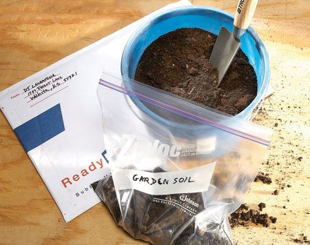 <b>Soil test</b></br> <p>Send the soil sample,   paperwork and a   check to your local   extension service.   The service will mail   back a report telling   you the nutrient content   of the soil and   the type and amount   of fertilizer to add. A   lab report tells you   what nutrients are   needed for your  soil. </p>
