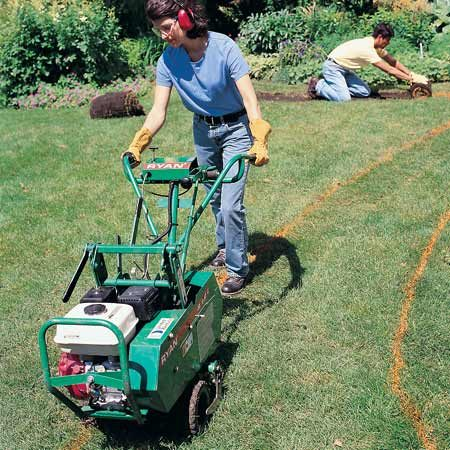 <b>Sod cutter</b></br> Cut away the sod in the garden with a power sod cutter. Remove the sod and use it in your yard or turn it upside down and start a compost pile.