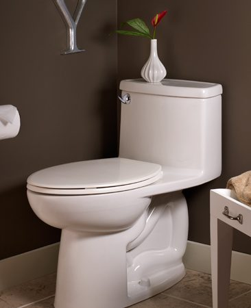 <b>American Standard Cadet toilet</b></br> American Standard Compact Cadet 1.28 gpf, model 2403; at home centers and online retailers. <br><br><a href='http://www.americanstandardus.com'>americanstandard.com</a>