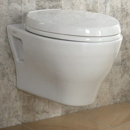 <b>A wall-hung toilet</b></br> <p>Toto Aquia wall-hung high-efficiency dual-flush 1.6 and 0.8 gpf; at plumbing showrooms and online retailers. <br><br><a href='http://www.totousa.com'>totousa.com</a></p>