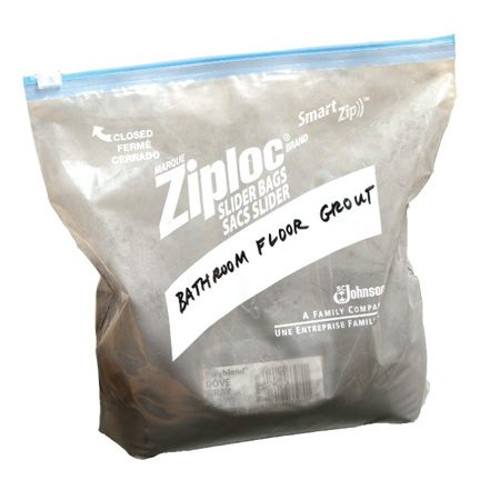 Store extra grout in a plastic bag.