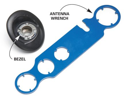 <b>Photo 1A: Close-up of antenna wrench</b></br> Use the special wrench to remove the bezel that holds the antenna in place.