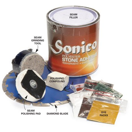 <b>You'll need special supplies</b></br> Order seam filler, dye packs, a diamond blade, a polishing stone and pad, and polishing compound from your granite supplier.