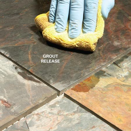 <b>Photo 1: Wipe on grout release</b></br> Wipe on the grout release with care. Try to keep it out of the grout joints or the grout won't bond to the tile. Let it dry before grouting.
