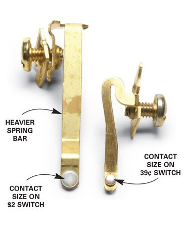 <b>Inside the switches</b></br> Switch heavy loads with the $2 switch. The contact area is twice that of the 39¢ switch, and the spring arm is heavier, so you'll replace them less often.