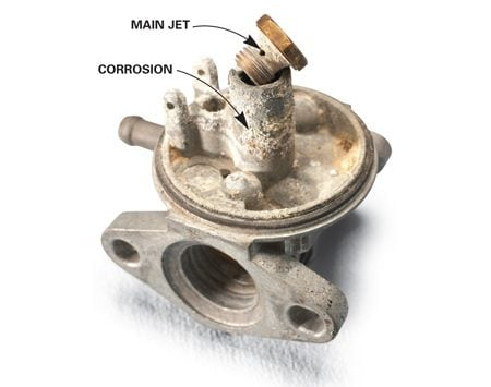 <b>Photo 3: Corrosion's a deal breaker</b></br> Junk the carburetor if the inside is corroded. Even after cleaning, the corrosion will clog the jets and tiny orifices and restrict the flow of gas.