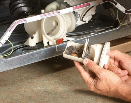 <b>Photo 2: Twist off the filter</b></br> If your washer has a filter that's separate from the drain pump, you'll see it alongside the pump. Unscrew the filter by turning it counterclockwise. Clean it out and reinstall it.