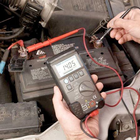 <b>Alternator test with a voltmeter</b></br> If it's in the range, it's good. Connect the meter leads to the battery terminals and look for 13.8 to 15.3 volts (engine running, lights and accessories off). That means the alternator is pumping out the juice.