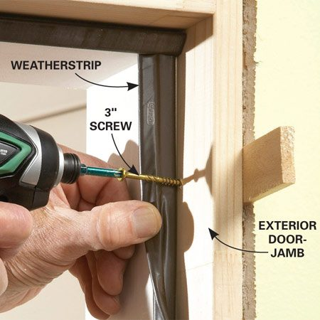 <b>Hide the screws</b></br> Pull back or remove the weather strip on the latch side of the door frame and drive screws where they'll be hidden.