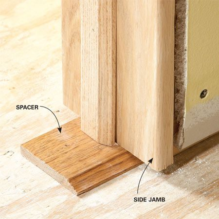 <b>Avoid trimming door bottoms</b></br> Raise doorjambs with scraps of trim to make sure the door will clear the carpeting.