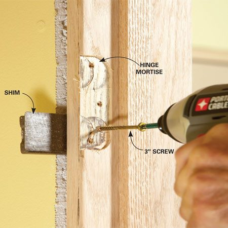 <b>Use screws, not nails</b></br> Screw through the jamb in the hinge mortise. The screws will hold better than nails and will be hidden by the hinges.