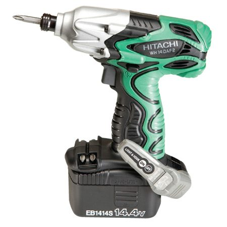 <b>Hitachi WH14DAF2</b></br> <p>Cost: $145<br/> Torque: 1060<br/> Weight: 3.8 lbs.<br/> Battery: 14.4V NiCad (2)</p>  <p>The work light is in the belt hook and operates by push button. Some testers liked it; most didn't.</p>