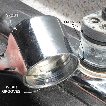 <b>Don't fight it; replace it</b></br> If you feel a groove where the O-rings mate to the spout, the faucet is toast. Don't waste any more time and energy on O-ring repairs—you'll never get a long-lasting seal. Replace the faucet.