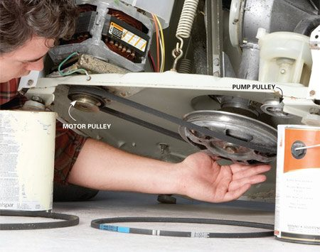 <b>Photo 2: Replace the belt</b></br> Unplug the washer and remove the front panel. Support the front feet on paint cans while you slip the old belts from the pulleys. Replace them with new belts.