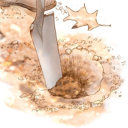<b>Slice through the topsoil</b></br> A special tile shovel slices through roots and turf and gets the hole started more easily.