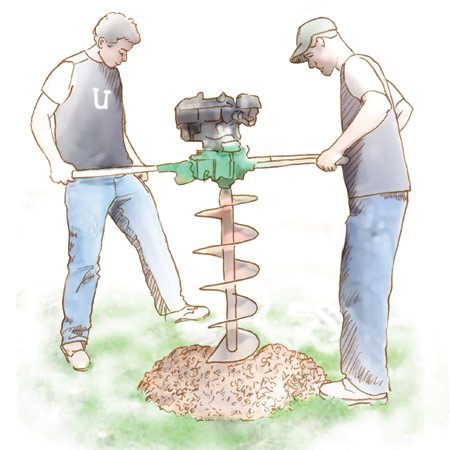 <b>Rent a power auger</b></br> Power augers can speed up digging in rock- and root-free soils.