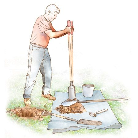 <b>Digging in clay</b></br> Lubricate the digger with water and rap it against a shovel to knock off sticky clay.