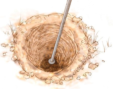 <b>Tamp the hole bottom</b></br> Pack the bottom of the hole to compress any loose soil.