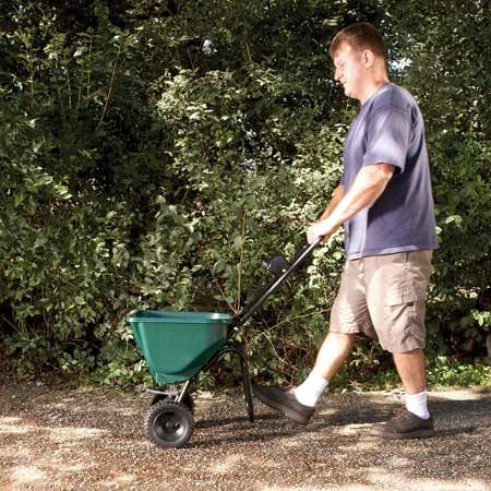 <b>Spread the seed accelerator</b></br> Set the spreader to the widest setting and walk quickly to get a light application of the pellets.