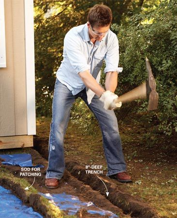 <b>Photo 1: Dig the trench</b></br> Use a mattock to dig the trench. The narrow head means less dirt to remove and less to put back. Slice out strips of sod with a spade so you can neatly patch the lawn later.