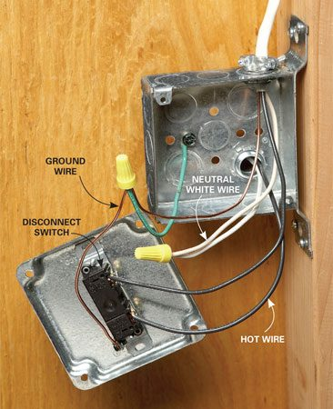 <b>Photo 9: Start with a switch</b></br> Connect the wires inside the shed to a switch. Then run them to a GFCI receptacle.
