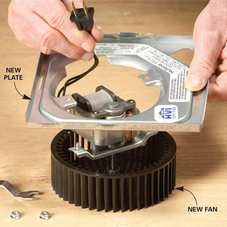 <b>Photo 3: Attach the new fan to the plate</b></br> Match one of the new mounting plates to the style of your old plate, and attach the new fan to the plate with the screws provided.