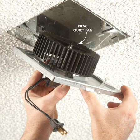 <b>Photo 4: Mount the new fan</b></br> Install the new fan, either hooking the tabs or reinstalling the screw. Plug in the fan and install the new cover.