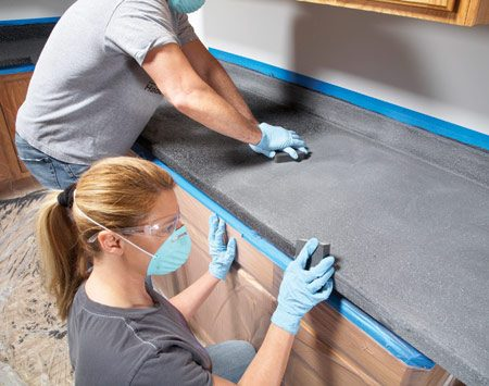 <b>Photo 4: Sand the chips smooth</b></br> Sand hard on the flat surfaces but lightly along the front edge to avoid sanding completely through the chips and base coat. The goal is a smooth, lightly textured surface.