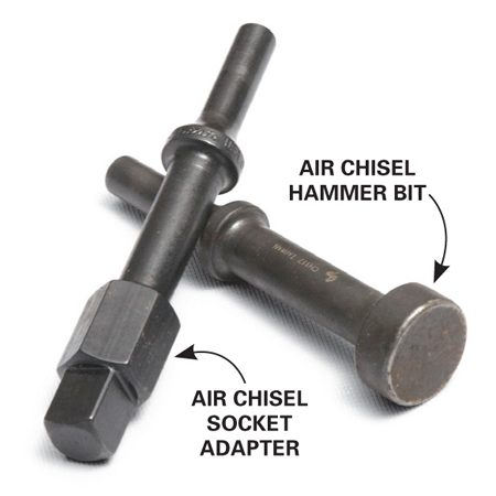 <b>Hammer bit</b><br/>An air chisel hammer bit and socket adapter can help loosen stuck bolts.