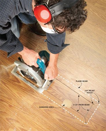 <b>Photo 1: Remove the center section</b></br> Set the depth of your circular saw a tad deeper than the floor thickness. Then lift the blade guard and dip the blade into the cutting line.
