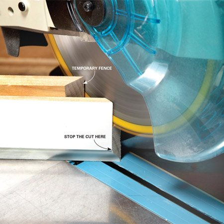 <b>Photo 2: Cut off the straight part</b></br> Swing the saw around to the other 45-degree setting and cut the vertical part of the cope, stopping just before the profile starts.