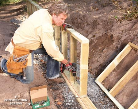 <b>Photo 2: Frame and set the walls</b></br> Frame the walls and stand them on top of the footing plates. Snap a chalk line on the footing plate 1 in. from the edge and then screw the bottom plates to the footing plate even with the line.