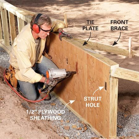 <b>Photo 3: Brace and sheathe the wall</b></br> Plumb and brace the wall, then screw down the tie plate. Dry-fit the plywood to the back of the framing and mark the strut holes and cut out the holes. Then nail the plywood to the studs.