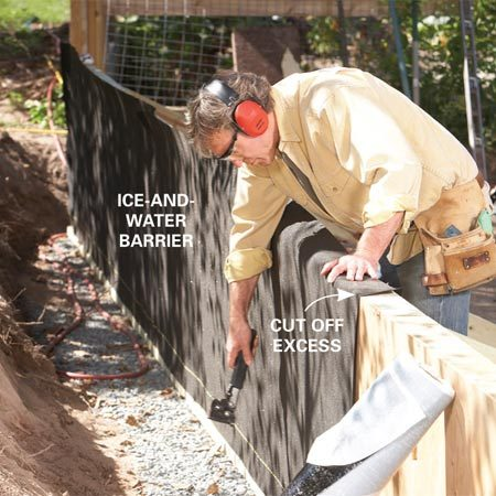 <b>Photo 4: Waterproof the walls</b></br> Clad the back of the wall with ice-and-water barrier and cut out the strut holes with a utility knife.