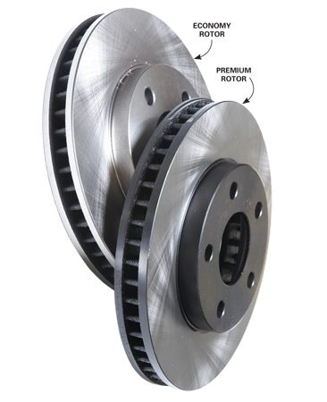 <b>Less metal is a bad idea</b></br> Compare the weights of these two rotors for the same vehicle. The generic rotor weighs 20 percent less than the premium brand.