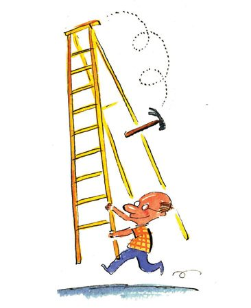 <b>Falling tools</b></br> Never leave anything on ladders. It'll come back to bonk you.