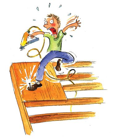 <b>Bump nailing goof</b></br> If you bump your boot while bump nailing, you might nail your foot.